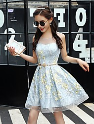 cheap -A-Line Flirty Elegant Homecoming Party Wear Dress Illusion Neck Sleeveless Short / Mini Tulle with Lace Insert 2021