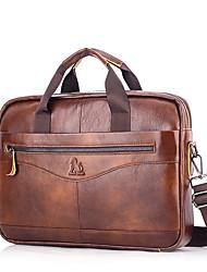 cheap -Men's Bags Cowhide Shoulder Messenger Bag Laptop Bag Briefcase Belt Zipper Daily Office & Career Handbags Black Brown Coffee