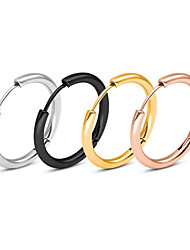 cheap -Couple's Hoop Earrings Fashion Stylish Simple Classic European Trendy Stainless Steel Earrings Jewelry Rose Gold / Blue / Gold For Party Evening Street Formal Date Festival 1 Pair