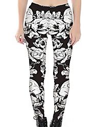 cheap -women's high waist skull printted ankle elastic tights shiny legging o- skulls in white flowers us xs o- skulls in white flowers