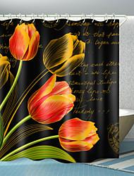 cheap -Tulip English Digital Printing Shower Curtain Shower Curtains  Hooks Modern Polyester New Design