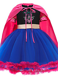 cheap -Princess Cosplay Costume Costume Girls' Movie Cosplay Euramerican New Year's Blue Dress Shawl Christmas Halloween Carnival Polyester / Cotton Polyester