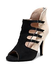 cheap -Women's Latin Shoes Modern Shoes Salsa Shoes Heel Buckle Sided Hollow Out Slim High Heel Beige Zipper Adults'