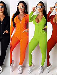 cheap -Women's 2-Piece Full Zip Tracksuit Sweatsuit Jogging Suit Street Athleisure Long Sleeve Spandex Fitness Gym Workout Performance Running Jogging Sportswear Solid Colored Outfit Set Clothing Suit