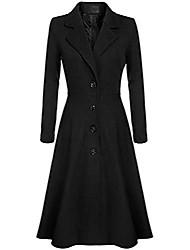 cheap -women's winter fall elegant fit and flare swing long wool blend coat (large, black)
