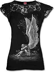 cheap -women's enslaved angel-lace layered cap sleeve top t-shirt, black (black 001), 20 (size:xl)