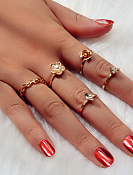 cheap -Ring Gold Rhinestone Alloy Flower Sweet 1 set 8 / Women's