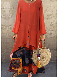 cheap -Women's Two Piece Dress Midi Dress - Long Sleeve Print Print Fall Winter Casual Vintage Cotton Slim 2020 Black Orange M L XL XXL
