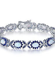 cheap -18k white gold & rose gold plated created opal tennis bracelet (white gold blue sapphire)
