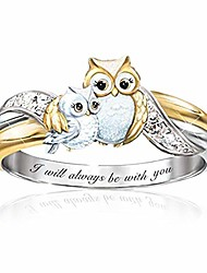 cheap -owl ring animals shape two-tone rhinestone mother and child finger rings cartoon creative jewelry love gifts for daughter mom women girls i will always be with you