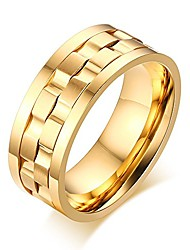 cheap -men's gold plated stainless steel rotatable stylish brick double gear shaped spinner rings,size 9