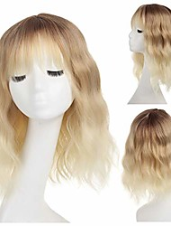 cheap -blonde wig with fringe 14'' short curly wig dark root natural wavy heat resistant wigs for woman natural ombre short bob with bang/ombre blonde