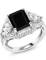 cheap -black onyx 925 sterling silver women's ring 3.92 ct emerald cut (size 8)