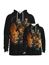 cheap -Family Look Active Tiger Lion Graphic Optical Illusion Animal Print Long Sleeve Regular Hoodie & Sweatshirt Black