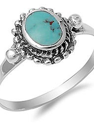 cheap -women's nugget simulated turquoise cute ring new .925 sterling silver band size 5