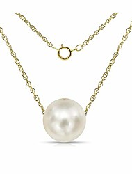 cheap -14k yellow gold chain with 9-9.5mm white freshwater cultured pearl floating pendant necklace, 18""