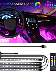 cheap -1Pcs Car LED Strip Light 48 LED DC 12V Multicolor Music Car Interior Light LED Under Dash Lighting Car Interior Atmosphere Light Automotive Car Decorative Lamp