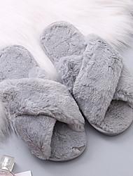 cheap -Women's Slippers & Flip-Flops Fuzzy Slippers Indoor Slippers Flat Heel Open Toe Daily Home Faux Fur Wine Black Light Red / Winter