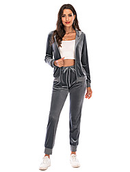 cheap -Women's Casual / Daily Cotton Blend Asian Size Hoodie Pant Gymnatics Hooded Suits Full Body Patchwork Fall & Winter Plain S Black