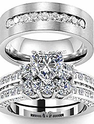 cheap -couple rings white gold filled heart cut cz 2pc womens wedding ring sets titanium steel mens wedding band