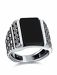 cheap -diamond shape cable etching band gemstone black onyx rectangle signet ring for mens heavy 925 sterling silver handmade in turkey