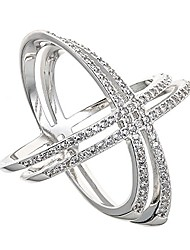 cheap -925 sterling silver double 'x' criss cross ring, for women and girls size 6'' 7'' 8'' 9'' (with cz, 8)