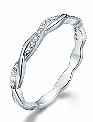 cheap -18k gold plating 925 sterling silver twisted band rings cubic zirconia stackable rings cz simulated diamond eternity bands engagement wedding bands for women (white gold, 6)