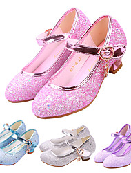 cheap -Girls' Heels Moccasin Flower Girl Shoes Children's Day Rubber PU Little Kids(4-7ys) Big Kids(7years +) Daily Party & Evening Walking Shoes Rhinestone Buckle Sequin Purple Pink Dark Blue Spring Fall