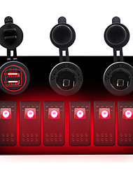 cheap -6 GANG Red LED Switch Panel ON-OFF Rocker Toggle for Car Boat Marine 12V IP67