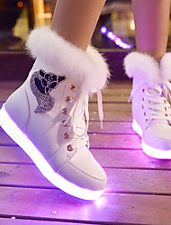 cheap -Boys' Girls' Sneakers LED Comfort LED Shoes PU Little Kids(4-7ys) Big Kids(7years +) Daily Walking Shoes White Black Fall Spring