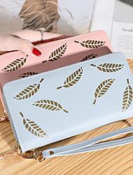 cheap -Women's Bags PU Leather Wallet Zipper Print Plain 2021 Daily Date Wine Black Red Blushing Pink