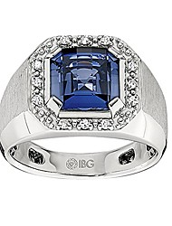 cheap -sterling silver created sapphire and diamond ring