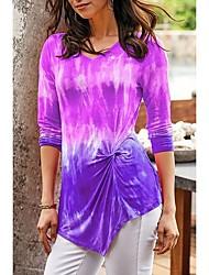 cheap -Women's Plus Size Tops Blouse Print Tie Dye Large Size Round Neck Long Sleeve Big Size