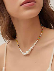 cheap -Women's Chain Necklace Beaded Necklace Beads Friends Precious Joy Hope Blessed Dainty Luxury Rock Cute Glass Alloy Rainbow 38 cm Necklace Jewelry 1pc For Sport Gift Birthday Party Beach Festival
