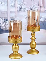 cheap -Golden Candlestick Christmas Wedding Candlestick Candlelight Dinner Decoration Candle Holder