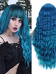 cheap -long blue wigs for women natural curly wavy synthetic hair wigs with fringe party costume halloween wig (30 inch, mixed blue)