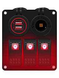 cheap -3-position red light switch panel multi-function panel car charging  power socket suitable for 12 / 24 V car RV yacht etc