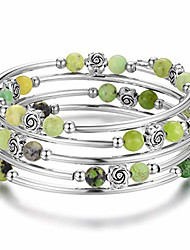 cheap -wrap bangle rose bead bracelet - beaded bracelet with natural agate stone gifts for women girls (06-fruit green)