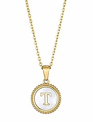 cheap -18k gold plated stainless steel initial necklace white shell round coin letter t pendant necklace personalized name necklace for women girls