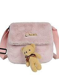 cheap -Women's Bags Faux Fur Crossbody Bag Buttons Daily Outdoor Baguette Bag MessengerBag White Black Blushing Pink Khaki
