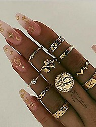 cheap -10 piece boho rings set vintage rhinestones statement gold rings set festive jewelry rings ladies bohemian rings set knuckle rings tribal accessory for women (style 9)