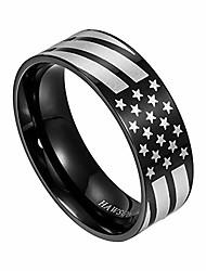 cheap -american flag rings for women and men, black engraved basic 6mm 8mm stainless steel ring for anniversary - 6mm/5#