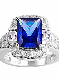 cheap -925 sterling silver created tanzanite filled halo promise ring