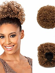 cheap -short curly hair ponytail scrunchie kinky wrap drawstring puff ponytail hair extensions wig with clips - coffee brown(weight:65g)