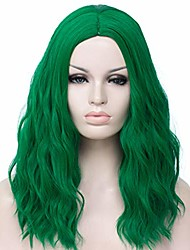 cheap -® 20 inches medium length women's dark green wig halloween cospaly green wig long synthetic fancy party carnival wig with wig cap (style a)