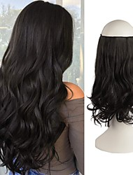 cheap -Hair Extensions Invisible Secret Wire Hidden Crown Hair Extensions One Piece Curly Wavy Hidden Hair Extension Synthetic Hairpieces for Women 20 Inch