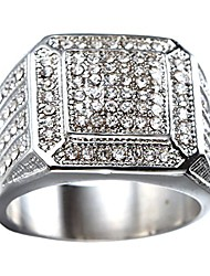 cheap -men's stainless steel hip hop iced out cubic zirconia square rings cz wedding bands silver size 12