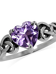 cheap -1.04ct. natural heart shape amethyst 925 sterling silver celtic knot ring size 4