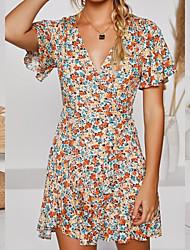 cheap -Women's Sheath Dress Short Mini Dress - Short Sleeve Print Floral Ruffle Spring Fall V Neck Plus Size Casual Party Holiday Slim 2020 Yellow S M L XL