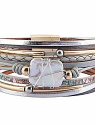 cheap -womens leather wrap bracelet baroque pearl cuff bracelets multi strand gold tube bangle wristbands bohemian bracelet gift for women teen girls wife